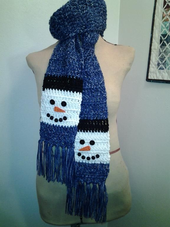 Crocheting Ideas Project on Craftsy: Snowman Scarf Crochet - Kids Pinte...