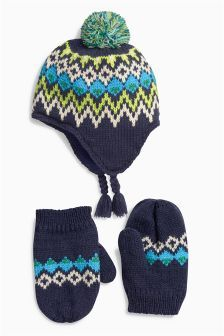 Navy Inca Hat And Mittens Set (Younger Boys)