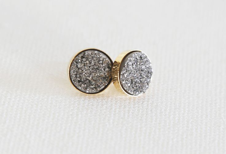 Acute Designs Sparkling Natural Druzy Studs - Platinum, Pale Blue, Sea Green, Rainbow, and Gold #handmadejewelry