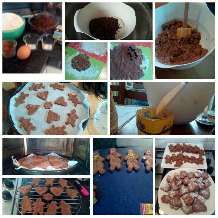 ik heb speculaas koekjes gebakken. zo doe je het:bloem met bruine suiker mengen, alle ingredienten toevoegen en kneden, vormen maken en bakken in de oven