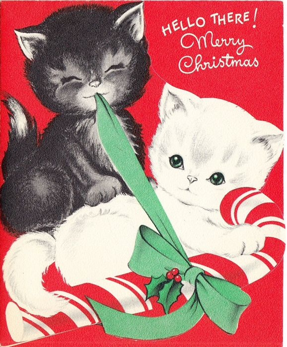 Christmas kittens with candy cane