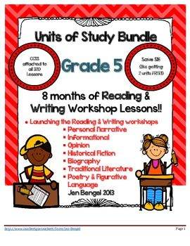 I am so excited to announce that I have created a bundle of all 8 units of study available in my store. This is 8 months worth of reading and writing workshop lessons (320 in all) that cover EVERY...SINGLE...Common Core State Standard in fifth grade for Reading:Literature, Reading:Informational, and Writing!! You will be set for the year! Save big by purchasing them all in one set! $