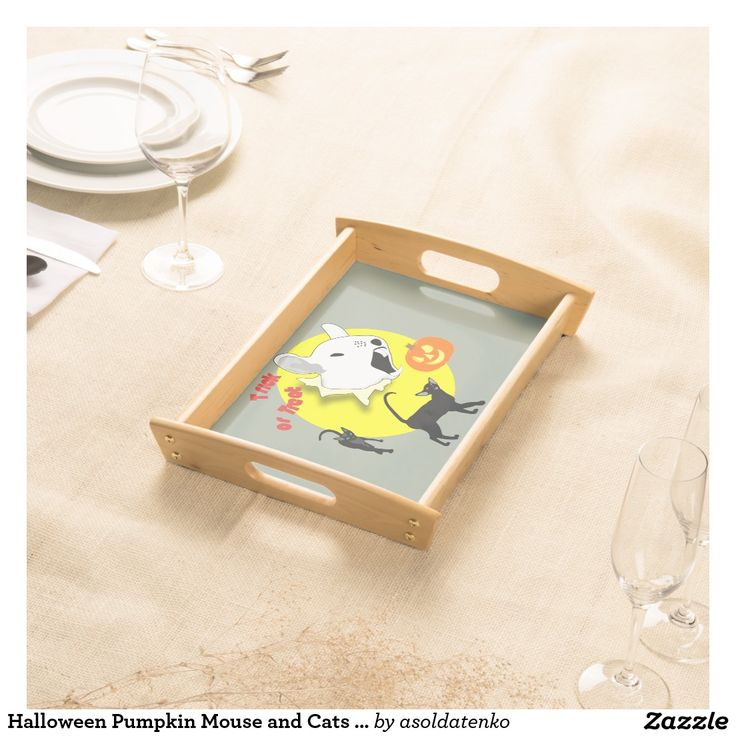 Halloween Pumpkin Mouse and Cats serving tray