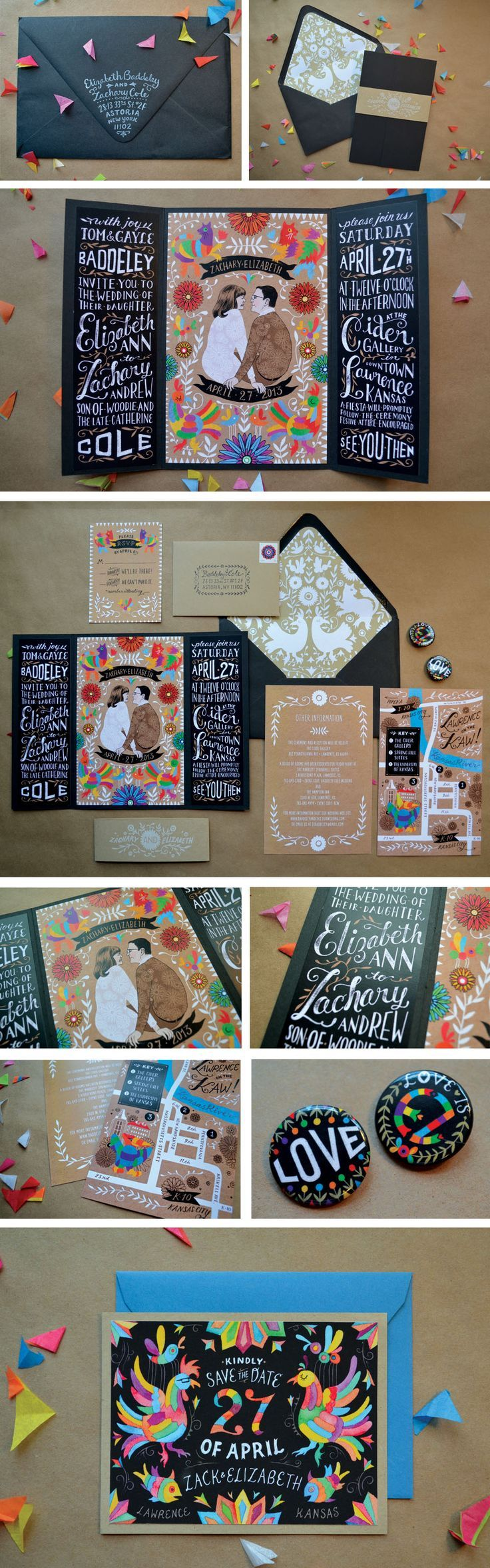 Beautiful wedding invitation / collateral / white printing on black paper & kraft paper