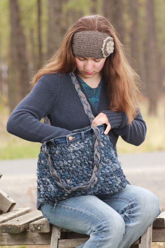 Crocheted Blue Jean Shoulder Bag, denim purse, upcycled blue jeans, blue jean…