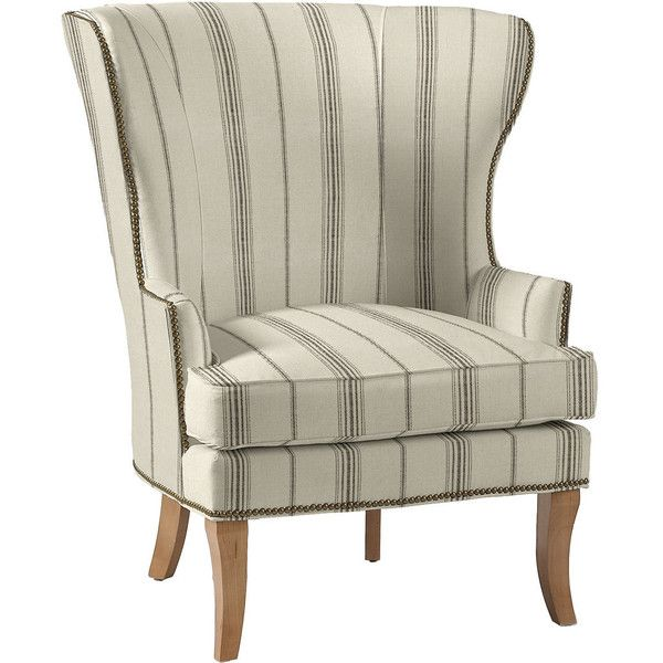 thurston wing chair with antique brass nailheads 995 cad liked on polyvore featuring home furniture chairs accent chairs tall wing back chairs