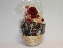 Darčekový kôš - bordová ruža