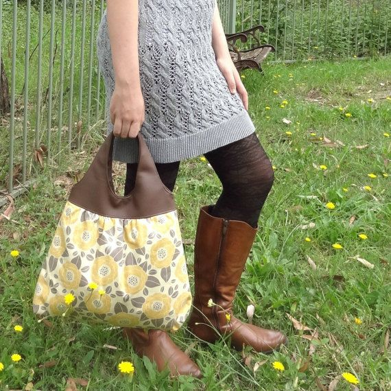 Floral Tote Bag // Grey Yellow Hobo Bag // Floral Handbag with Leather Look Handle - The Jacqueline Tote