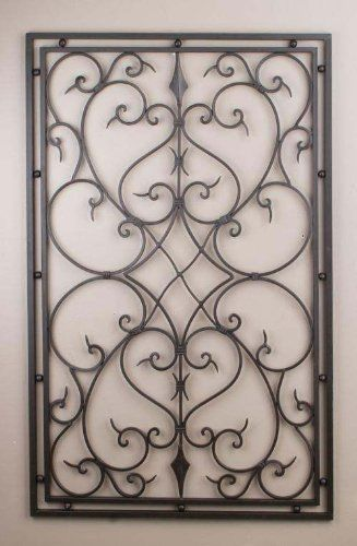 Wrought Iron 30x48 Rectangle Wall Decor Grille by IronArboretum, http://www.amazon.com/dp/B0080RDD9A/ref=cm_sw_r_pi_dp_juoisb0W1NH00