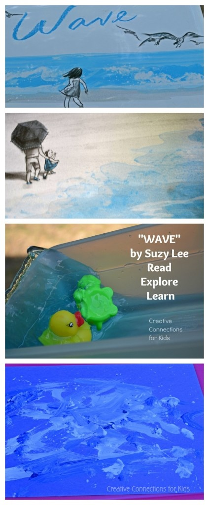 Wave by Suzie Lee ~ The perfect wordless book for a summer reading list; plus a water and art activity to connect to the story