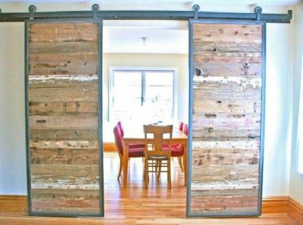 Sliding doors as room dividers wood textures