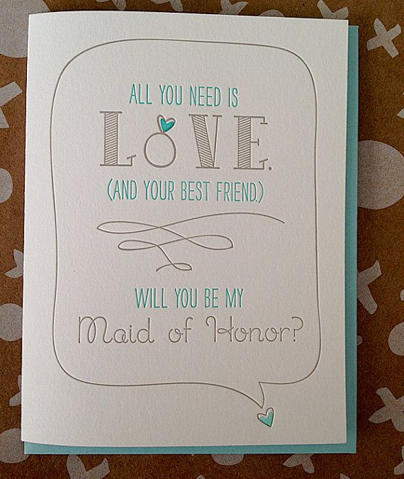 Best Friend - Will you be my Maid of Honor or Matron of Honor. Letterpress will you be my Maid of Honor Card. on Etsy, $5.50