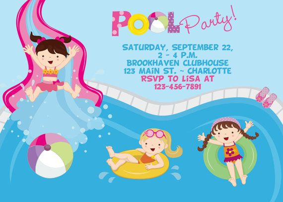 636 best Pool party images on Pinterest Birthdays, Kids part and - birthday invitation swimming party