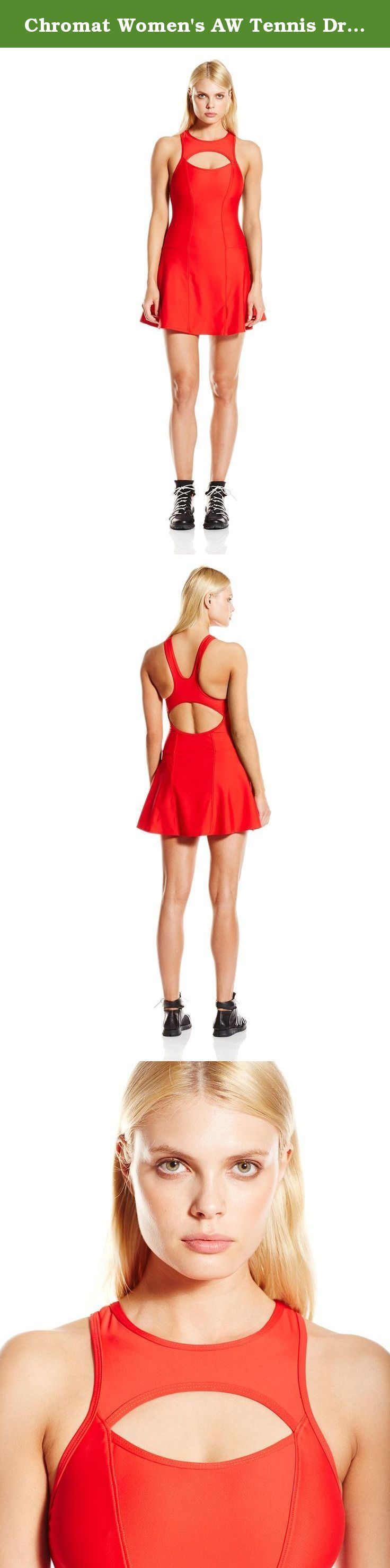 Chromat Women's AW Tennis Dress, Red, Small. Sleeveless tennis dress with keyhole cutouts at bodice and back waist.