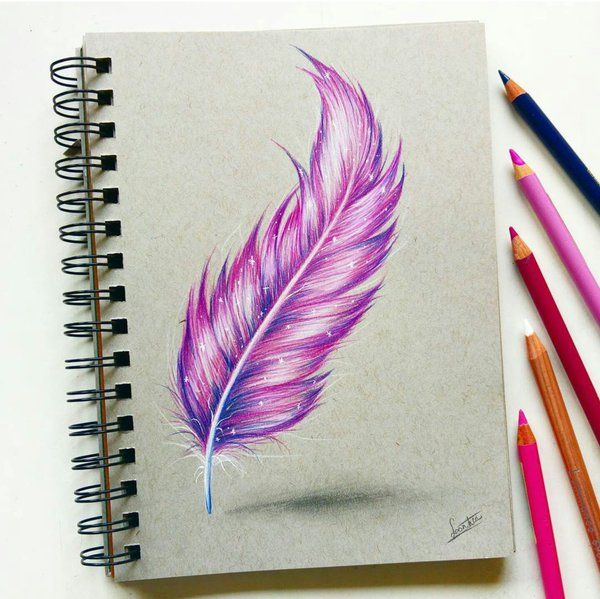 Feather With Colored Pencil By Tinesdierportretten Feather Drawing Color Pencil Drawing Flower Drawing