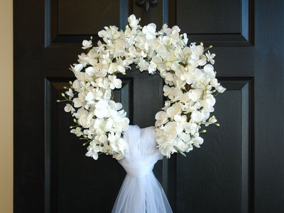 summer wreaths, weddings decor flowers year round wreaths, wreath, elegant wreath, David Austin roses, front door, country french, outdoor and garden  WEDDING ORCHID WREATH  This listing is for beautiful white orchids wreath. The perfect wreath, front door or wall decor, wedding door decorations. Also a great gift for Wedding, Bridal shower... This arrangements is made with faux orchids and grapevine wreath, with or without crystal brooch, it is finish with tulle veil for a perfect…