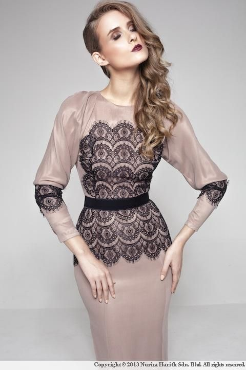 Luxe- Evelyn, By Nurita Harith Lebaran 2013. Modern kurung with lace on the blouse and sleeves.