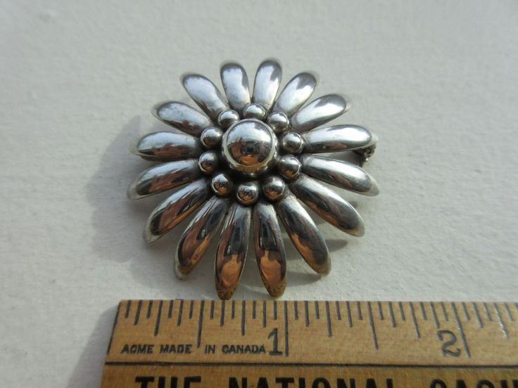 Vintage Sterling Mid Century Modernist Flower Brooch Signed Denmark, from antiquesrococo on Ruby Lane