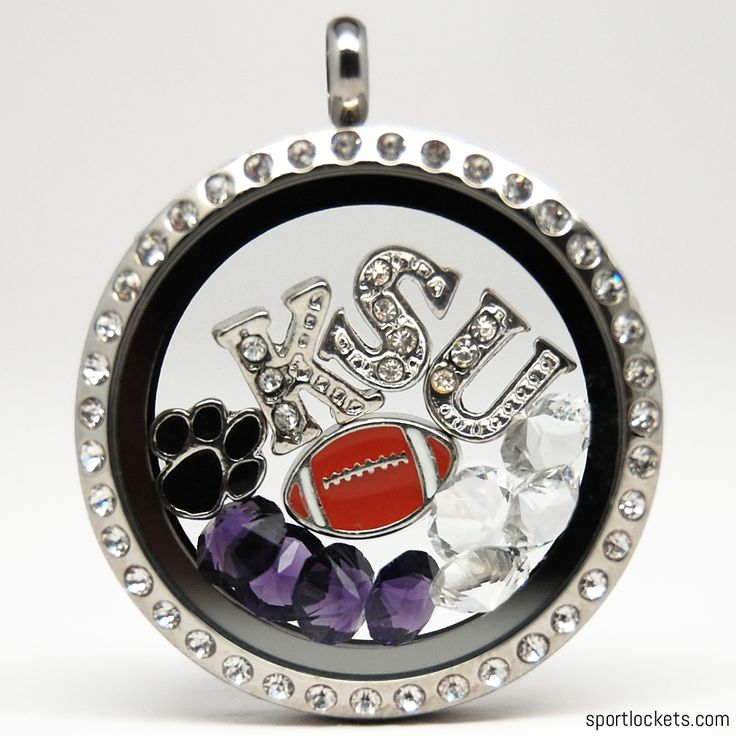 Kansas State football themed locket necklace from SportLockets.com. Customize with your own letters!