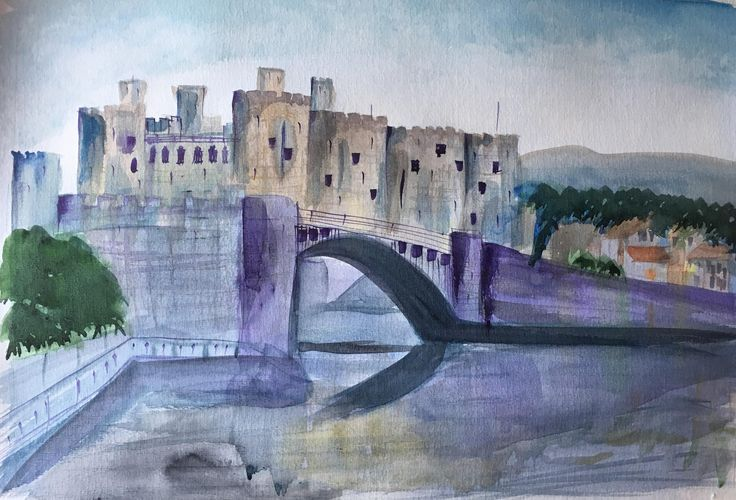 New Original Watercolour/Watercolor painting of Conwy Castle, Wales - framed and ready to hang by KnottyThistle on Etsy