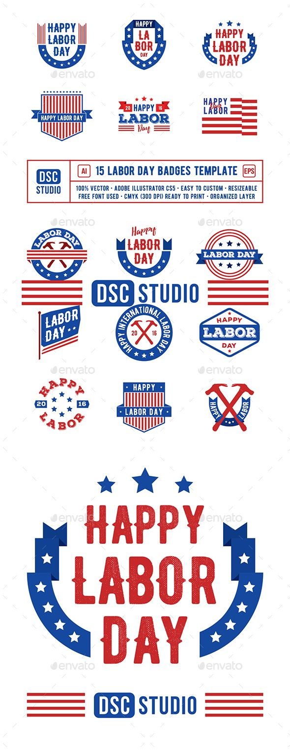 15 Labor Day Badge — EPS Template • Only available here