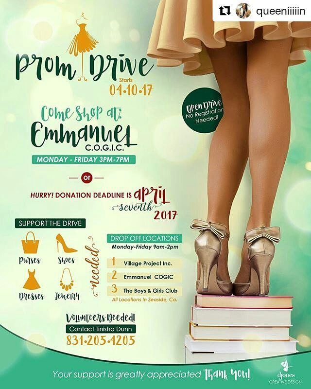 #Repost @queeniiiiin with @repostapp ・・・ #LADIES if you have any new or gently used #PromDresses or #FormalDresses taking up space in your closets, donate them for a great cause! You can donate at one of the drop off locations listed on the flyer by April 7th. Have any questions, feel free to contact me! #SayYesToTheDress #PromDrive #Dresses #Shoes #Accessories #Jewelry #MontereyCounty #831 #Seaside #Marina #Monterey 👗👠👑👛💕 BIG THANKS TO @missss_jones FOR THE FLYER 😘 #montereylocals…