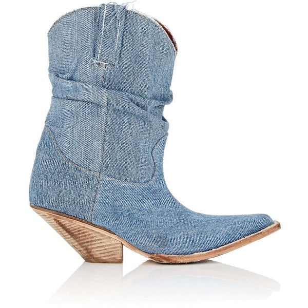 R13 Women's Slouchy Denim Cowboy Boots (16,975 MXN) ❤ liked on Polyvore featuring shoes, boots, ankle boots, blue, slouchy ankle boots, slouch ankle boots, bootie boots, blue ankle boots and denim boots