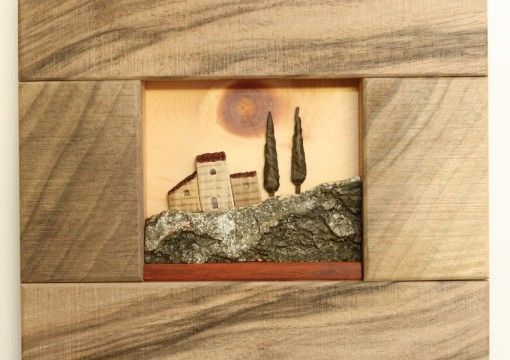 Hermitage of the Sun - Rocky Mountains / Eremo del Sole bassorilievo in legno  Artigianato artistico in legno, made in Italy, fatto a mano.  Wooden Artistic Handicraft - italian handmade
