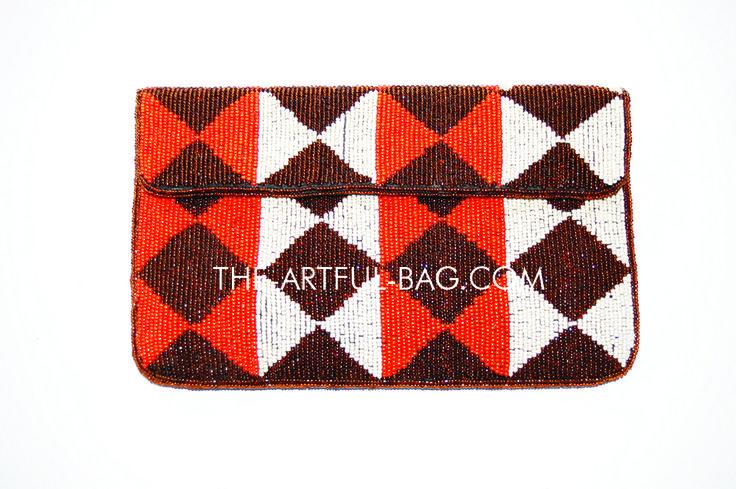 The-Artful-Bag.com - Tribal Large Beaded Clutch Bag, £59.00 (http://www.the-artful-bag.com/tribal-large-beaded-clutch-bag/) #orange #purse #clutch #fashion #summer