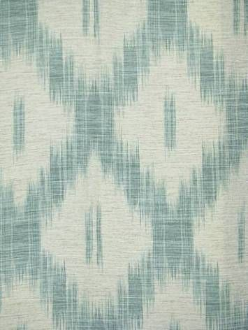 "Laura Ashley 100% cotton heavy slub duck ikat w/ 13"" repeat 1336 35 Teal- House of Fabric"