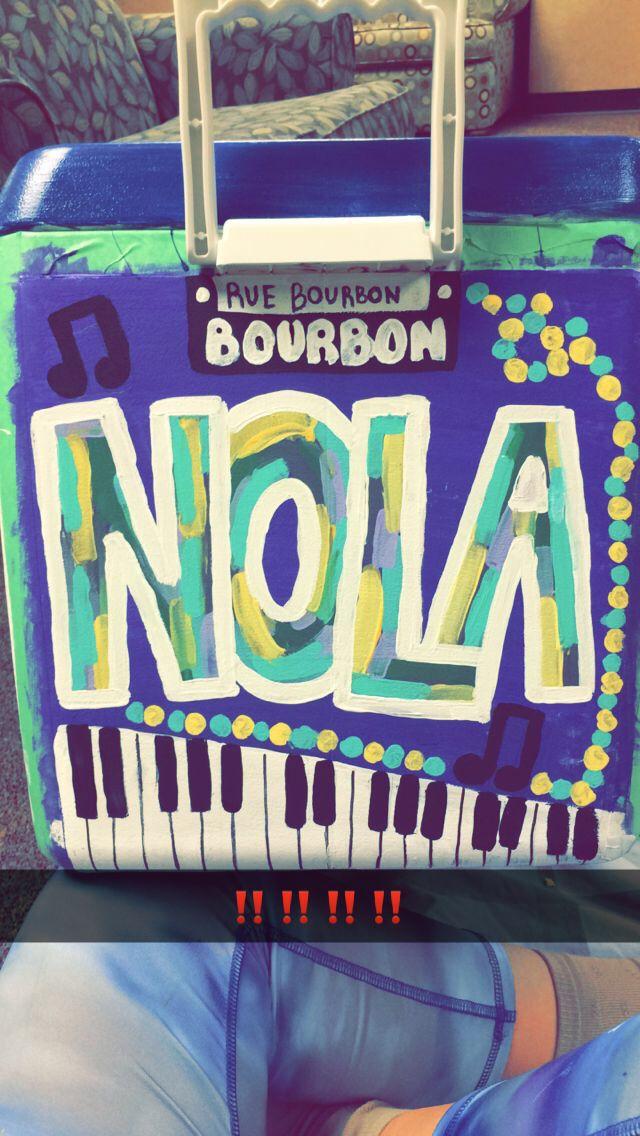 NOLA SIDE. painted fraternity cooler, kappa sig formal Nola 2015. ole miss