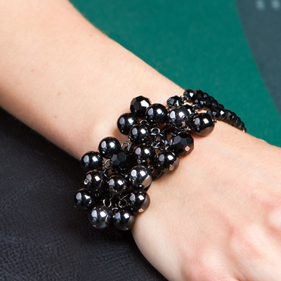 "Mystery Woman Description  Go from plain to ooh-la-la wearing this shockingly beautiful bracelet featuring dozens of black crystal and jet hematite beads.  7"" Bracelet with 2"" extension Nickel, lead and cadmium free"