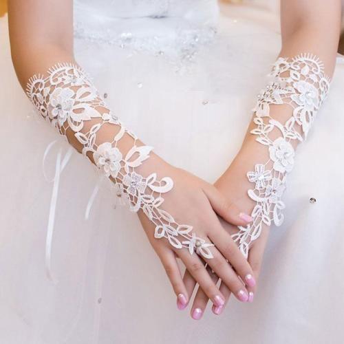 Sexy-Lace-Crystal-Flower-Rhinestones-Fingerless-Gloves-Bridal-Wedding-Party
