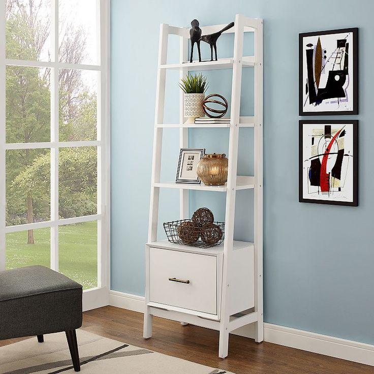 Crosley Furniture Landon Small Ladder Bookshelf, White