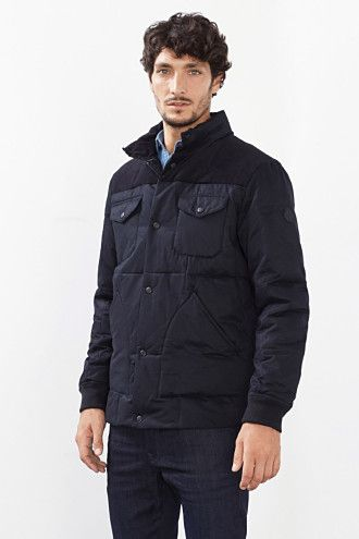 Esprit / Cotton blend quilted jacket + cord trim