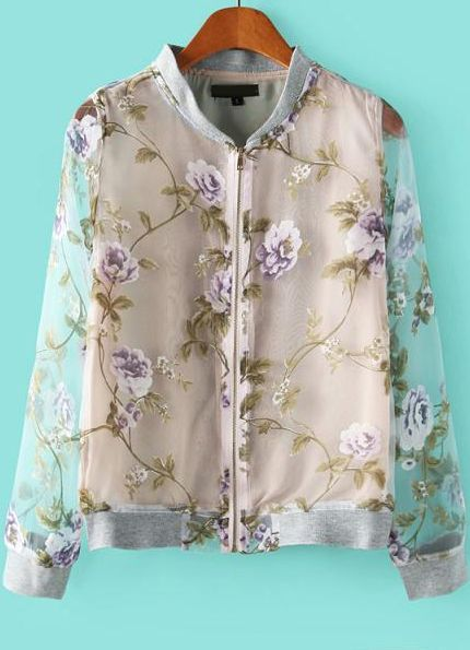Grey Stand Collar Long Sleeve Purple Floral Organza Jacket - Sheinside.com