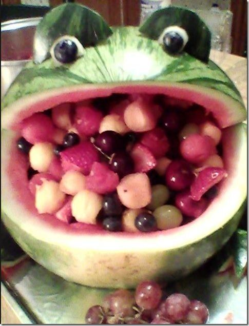 watermelon fruit basket | Watermelon Frog Fruit Salad Bowl. DIY [8 Photos] : theChobble