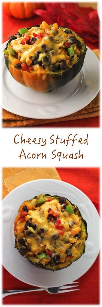 Cheesy Stuffed Acorn Squash #squash #acorn
