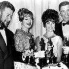 "The 1960 Oscar winners in the acting categories: Peter Ustinov ""Spartacus"" Shirley Jones ""Elmer Gantry"" Elizabeth Taylor ""Butterfield 8"" and Burt Lancaster ""Elmer Gantry"""