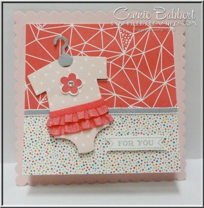 Something for Baby, baby card, Stampin' Up!, Baby's First Framelits, #stampinup, shower card, ruffled onesie, Connie Babbert, www.inkspiredtreasures.com