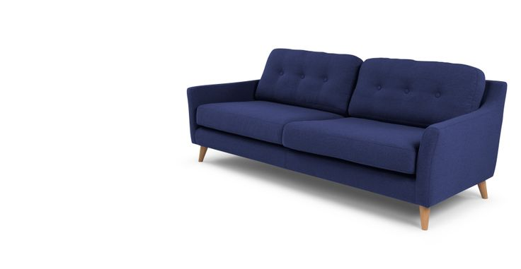 Rufus 3 Seater Sofa, Dark Cobalt Blue | made.com
