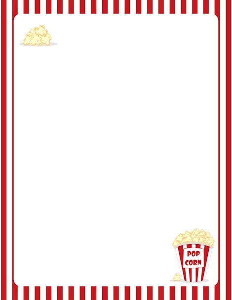 Printable popcorn border. Free GIF, JPG, PDF, and PNG downloads at http://pageborders.org/download/popcorn-border/. EPS and AI versions are also available.: