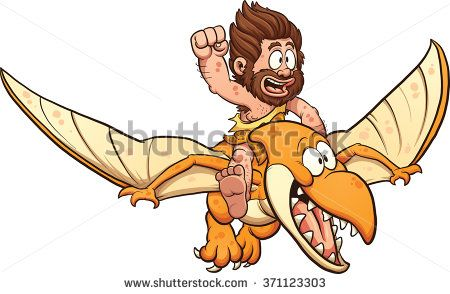 Cartoon caveman riding a pterodactyl. Vector clip art illustration with simple gradients. All in a single layer. - stock vector
