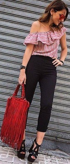 #summer #desert #outfits    Pink Stripes + Black + Red Fringes