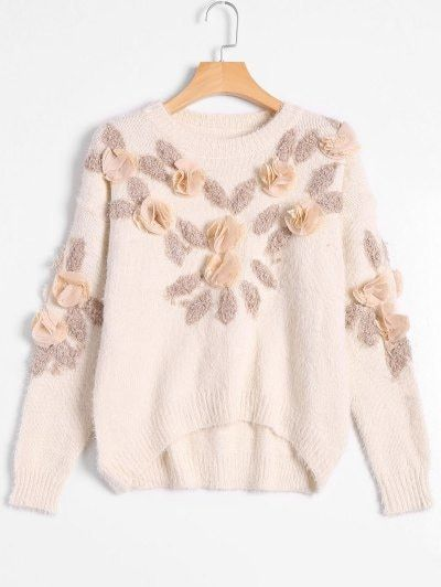 SHARE & Get it FREE | Patched Fuzzy Bowknot Applique Sweater - Off-whiteFor Fashion Lovers only:80,000+ Items • New Arrivals Daily Join Zaful: Get YOUR $50 NOW!