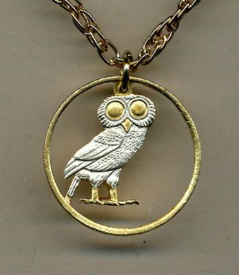 """Beautifully handcrafted necklace made from an authentic Greek Drachma """"Owl"""" coin. It includes a 14k Gold rope chain either 18 inches or 24 inches long."""