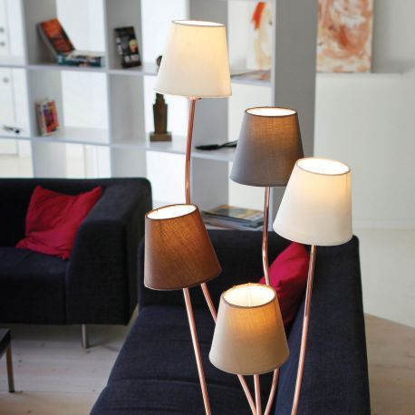 Rocoto gulvlampe - Kobber - 5 skærme