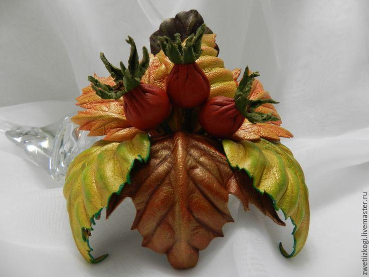 Создаём брошь из кожи «Осенняя композиция с плодами шиповника» - Ярмарка…