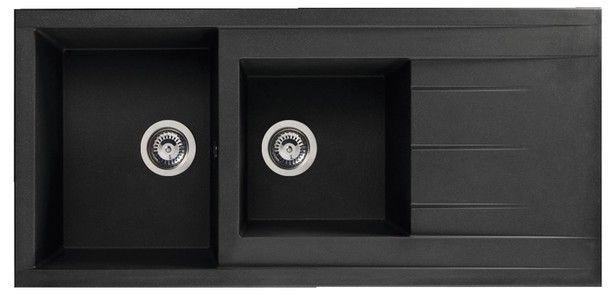 Evier A Encastrer Ising Noir En Resine 2 Cuves Dim L 110 X L 50 X Ep 21 Cm Brico Depot Evier Evier Cuisine Noir