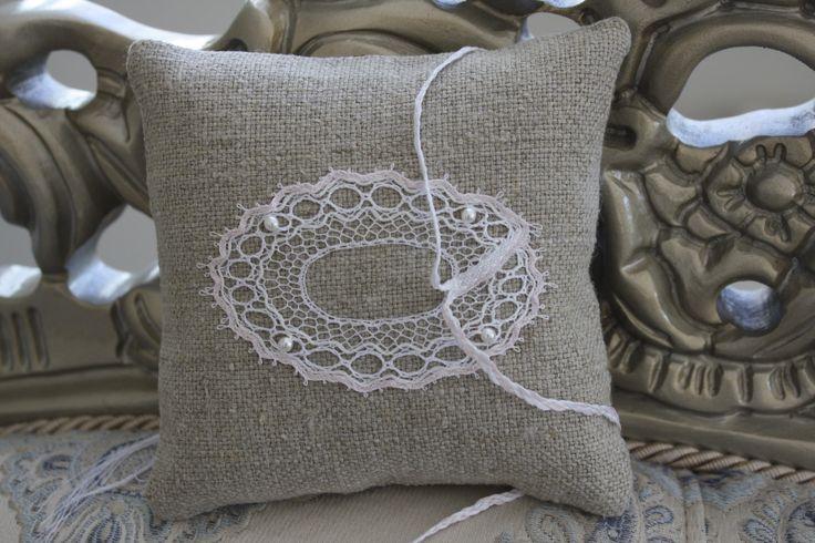 Ring bearer pillow handmade bobbinlace /Ring cushion / Wedding Ring cushion / Wedding pillow / Rustic / Cottage style Weddings by luxurybobbinlace on Etsy